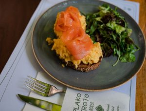 Scrambled smoked salmon