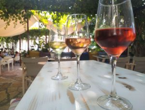 Glasses of white, rose and red wines on the table